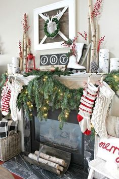 Farmhouse Christmas perfection - love this greenery over the fireplace. Mantle Decorating, Natural Christmas Decorating, Rustic Christmas