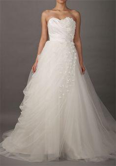 Sweetheart Romantic Wedding Dress with Slanting Flowered Flaps
