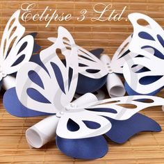 Butterfly theme wedding / baby shower / christening invitations - white and blue / scroll wedding invitations Mais Butterfly Wedding Theme, Butterfly Wedding Invitations, Scroll Wedding Invitations, Butterfly Party, Butterfly Birthday, Birthday Invitations, Baby Birthday, Fairy Baby Showers, Butterfly Baby Shower