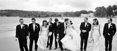 Balmoral Beach in Sydney. The bridal party enjoying a minute alone during the hectic day.