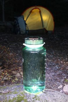 ThinkGeek :: Solar Powered Water Bottle Cap  Turns your water bottle into a solar powered lantern.
