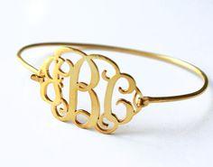 18k gold plated Monogram Bangle Bracelets  925 by durujewelart
