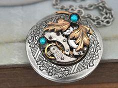 steampunk locket necklace steampunk jewelry by junesnight on Etsy