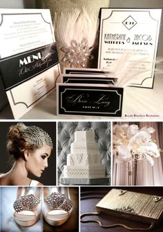 Great Gatsby Invitation Inspiration Board. Menu Card, Invitation and Place Cards by Royale Amethyst Invitations and Designs.