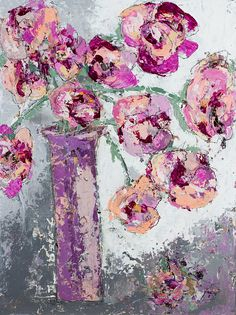 Flowers Pink painting abstract art Wishing and Praying by © Kirsten Reed Art