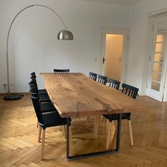 Unique Dining Tables, Dining Table Design, Wooden Tables, Dining Room Table, Steel Table Legs, Tree Table, Solid Wood Table, Solid Oak Dining Table, Wood Tree
