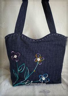 Embroidered denim bag Jeans bag with ribbons embroidered Recycled fabric sac Summer floral purse Shoulder bagful Eco friendly tote bag Handmade Handbags, Handmade Bags, Handmade Leather, Jean Purses, Denim Handbags, Diy Bags Purses, Denim Purse, Recycled Denim, Recycled Fabric