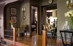home interior color ideas that work with dark trim | You can see the bedroom from the hallway. Jeff notes in the video that ...