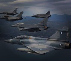 2 F16s, 2 Mirage2000 and a Rafale in a flight formation over Athens Army & Navy, National Guard, Air Force, Fighter Jets, Aircraft, Photo And Video, Aviation, Planes, Airplane