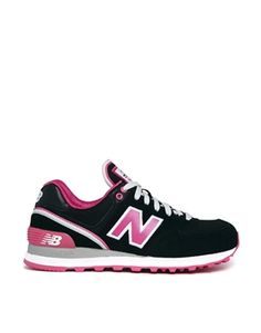 who can resist shoes that are on sale?! New Balance Black/Pink Stadium 574 Trainers