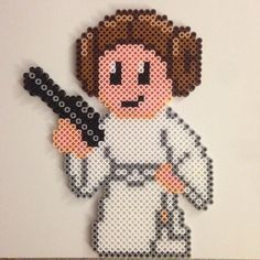 Princess Leia - Star Wars perler beads by thatperlernerd Perler Bead Designs, Perler Bead Templates, Hama Beads Design, Pearler Bead Patterns, Perler Patterns, Weaving Patterns, Perler Beads, Perler Bead Art, Fuse Beads
