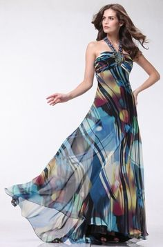 Jeweled Halter Pleated Bodice Cool Print Dress Full Length $199.99