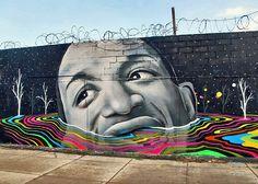Dasic Fernandez and Okuda street art in Bushwick Brooklyn