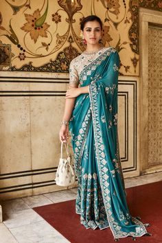 Crafted with fine precisions, this classic sari by Anita Dongre is perfect for pre-wedding soirees. Whatsapp us now for personal shopping experience! Indian Wedding Outfits, Bridal Outfits, Indian Outfits, Bridal Dresses, Indian Weddings, Indian Dresses For Women, Indian Clothes, Anita Dongre, Indian Attire