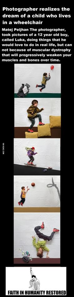 Photographer realizes the dream of a child who lives in a wheelchair