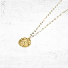 Coin necklace gold necklace geometric necklace celtic by ByYaeli