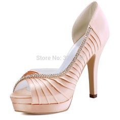 Women Pink High Heel Peep Toe Platform Rhinestone Pleated Satin Bridesmaid Bride Prom Evening Wedding Bridal Shoes Green EP11064