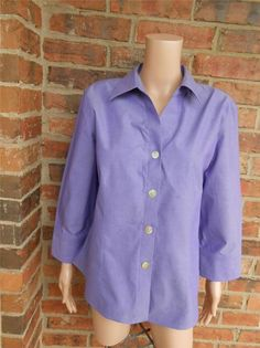 FOXCROFT Fitted Shirt 14 Non No Iron Blouse Top 100% Cotton Long Sleeve Purple #Foxcroft #Blouse #Casual