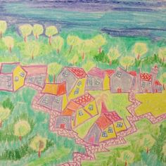 Crazy shapes for my ancestors' village in Corsica.  I drew it so many times I can do it my eyes closed.  I post in my feed various versions of how I painted or drew it.  This was done with pastel crayons. #process #history #unique #paint #crayon #sun #mountain #pastel #markers #drawing #illustration #drawing #handdrawn #village #corsica #corse #Corsican #casinca #landscape #architecture #Castagniccia #haute-corse #pop #art #ocagnano #popart #modern #colours #corsicart by ikekepania