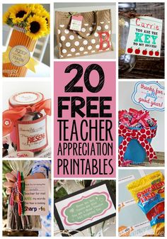 Treat your teachers right this year for Teacher Appreciation Week! Here are 20 different FREE Teacher Appreciation Printables to help you with little gifts ideas all year long.