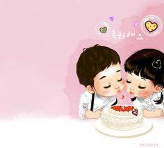 Couple of children celebrating their birthday with love #happy_birthday #happy_birthday_wishes #birthday #birthday_cake