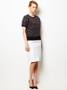 Leopard Print Pullover and Patent Leather Tight Skirt / LE CIEL BLEU