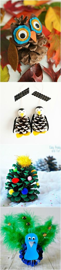 You're going to love every single one of these cute pine cone crafts! Your kids will have so much fun, and the best part is that the base materials are free! via (fall crafts for kids owl) Pinecone Crafts Kids, Thanksgiving Crafts, Crafts To Do, Fall Crafts, Holiday Crafts, Christmas Crafts, Diy Crafts, Pinecone Decor, Candy Crafts