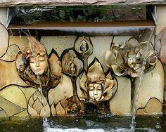 Atlanta Bot. Garden fountain w/ceramic faces, my favorite