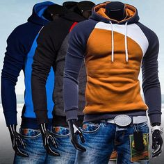 Hoody Ourdoor Slim Fit Splicing Color String Casual Pullover Top - awashdress