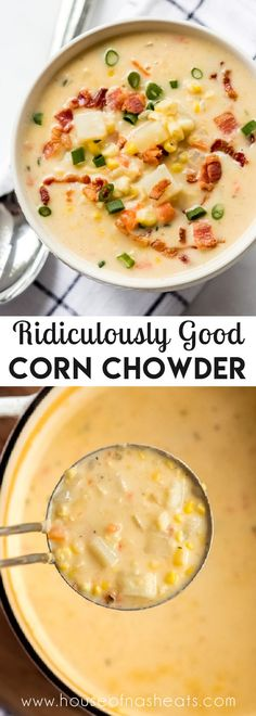 Best Corn Chowder Recipe, Chowder Recipes, Easy Soup Recipes, Veggie Recipes, Cooking Recipes, Potato Corn Chowder, Zoodle Recipes, Clam Chowder, Lunch Recipes