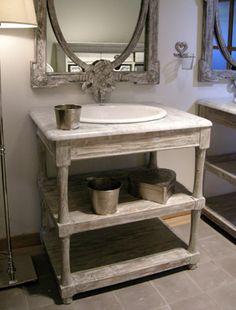 Meuble de toilette lavabo en pitchpin et marbre blanc 2 - Meuble salle de bain ampm ...