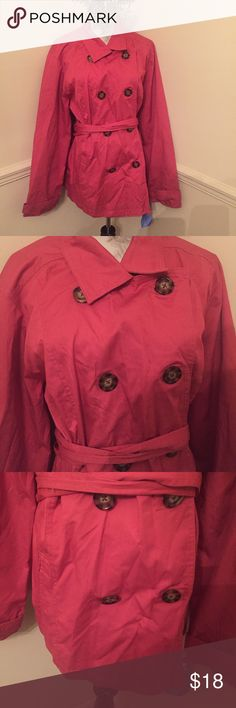 NWT Merona Trench 3/4 Jacket Coral coat with brown buttons and belt. Water resistant and stain resistant. Merona Jackets & Coats