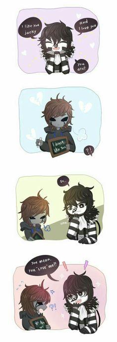 Laughing Jack, Eyeless Jack, yaoi, funny, text, comic, cute, chibi; Creepypasta