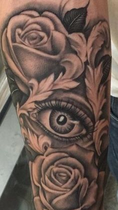 Roses eye tattoo
