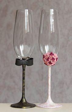 Wedding glasses champagne flutes LACE wedding bride and