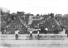 """The Cadet cheering section in Miles Stadium forms a VP monogram with their white shirts.""  The Roanoke Times file 1928 