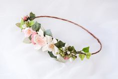 Flower crown, Floral halo, Bridal headpiece, Bohemian wedding hair accessories, Boho wreath - SONNET