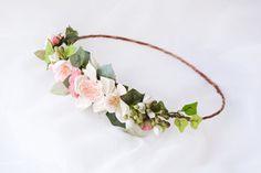 Flower crown, Floral halo, Bridal headpiece, Bohemian wedding hair accessories, Boho wreath - SONNET