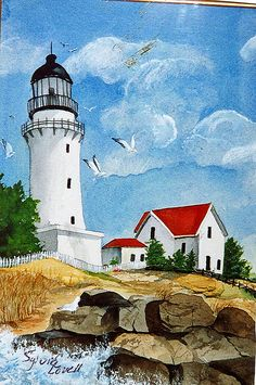 lighthouse -painted by Sylvia Lovell