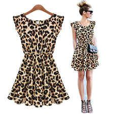 Women Leopard Above Knee Vest Pleated Ruffle Sleeveless Sexy Mini Dress Sundress