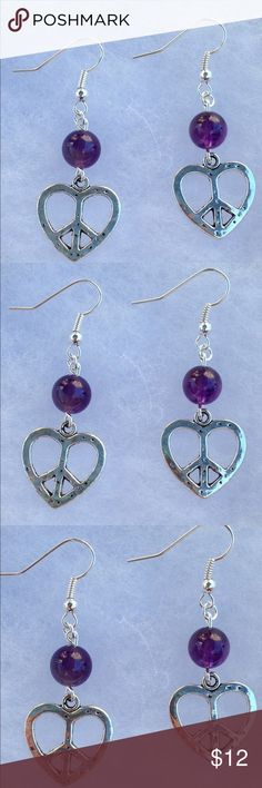 Amethyst Peace Sign Heart Silver Earrings These beautiful earrings are made with natural purple amethyst and silver tone heart peace signs. The hooks are sterling silver plated.   All PeaceFrog jewelry items are handmade by me! Take a look through my boutique for coordinating jewelry and more unique creations. PeaceFrog Jewelry Earrings
