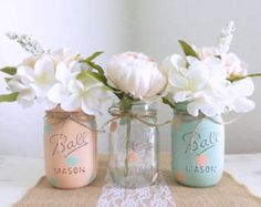 Pink and Gray Distressed Mason Jars, Wedding Centerpieces, Painted Mason Jars…
