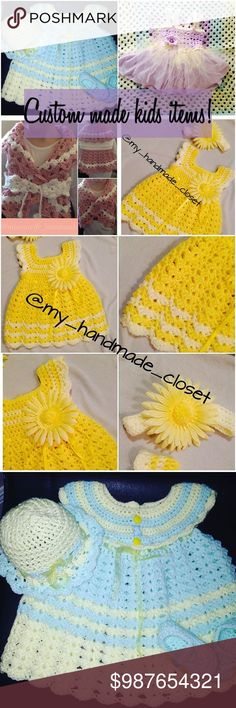 I crochet and knit custom made kids items! Put your order in today! Can make any color, knit sew or crochet! Taking upfront payments. Usually  ready within a week or less! Handmade Dresses