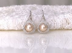 Blush Peach Earrings Blush Bridal Pearl by LuxuryTouchCreations