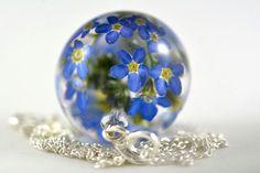 Blue Flower Pendant Forget-me-not Pendant Nots Resin