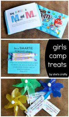 Girls Camp treat handouts for Young Women with Free Printables Young Women Activities, Youth Activities, Camping Activities, Young Women Handouts, Indoor Activities, Therapy Activities, Summer Activities, Girls Camp Gifts, Pillow Treats