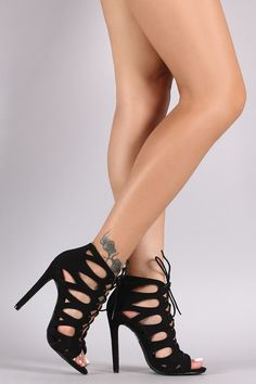 """Suede Teardrop Cutout Lace-Up Stiletto Heel. This gorgeous  heel  features a teardrop cutout design upper, open toe silhouette, and corset-style lace-up closure. Finished with a wrapped stiletto heel and lightly padded insole.Material: Vegan Suede (man-made)Sole: SyntheticMeasurement Heel Height: 4.5"""" (approx)"""