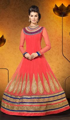 Pale Red Georgette Floor Length Anarkali Dress Price: Usa Dollar $173, British UK Pound £102, Euro127, Canada CA$185 , Indian Rs9342.