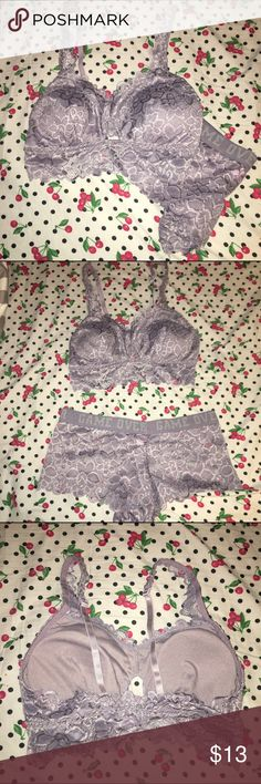 Hold 1/30/17 Bralette & Matching Boy Short Panties Both are brand new, but the tag fell off the bralette. This lavender color is so pretty, and perfect for spring! The lace boy shirt panties make it the perfect thing to wear during the day, or lounging around at home! So comfy!  Both the bralette and the panties are size large. true Intimates & Sleepwear Bras