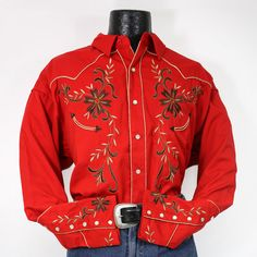 western yoke designs | Red western style shirt with western yoke, floral embroidery design ...